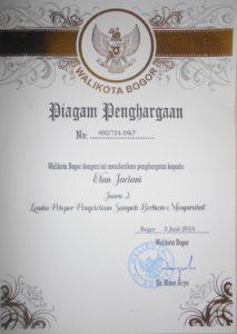 Piagam Penghargaan dari Walikta Bogor Tahun 2016