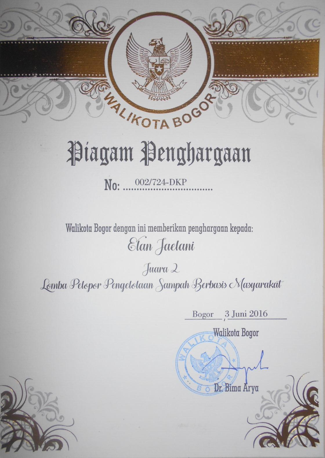Piagam Penghargaan dari Walikota Bogor Tahun 2016